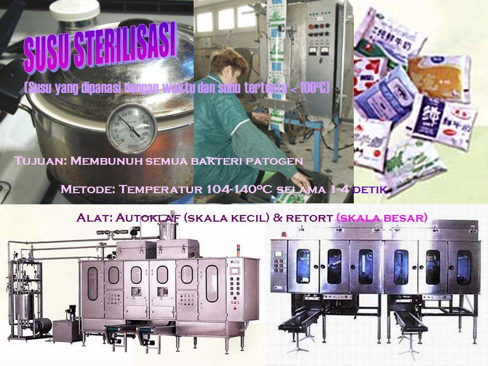 (Susu yang dipanasi dengan waktu dan suhu tertentu < 100 o C) Tujuan: Membunuh semua bakteri patogen Metode: Temperatur 104-140 o C selama 1-4 detik Alat: Autoklaf (skala kecil) & retort (skala besar)