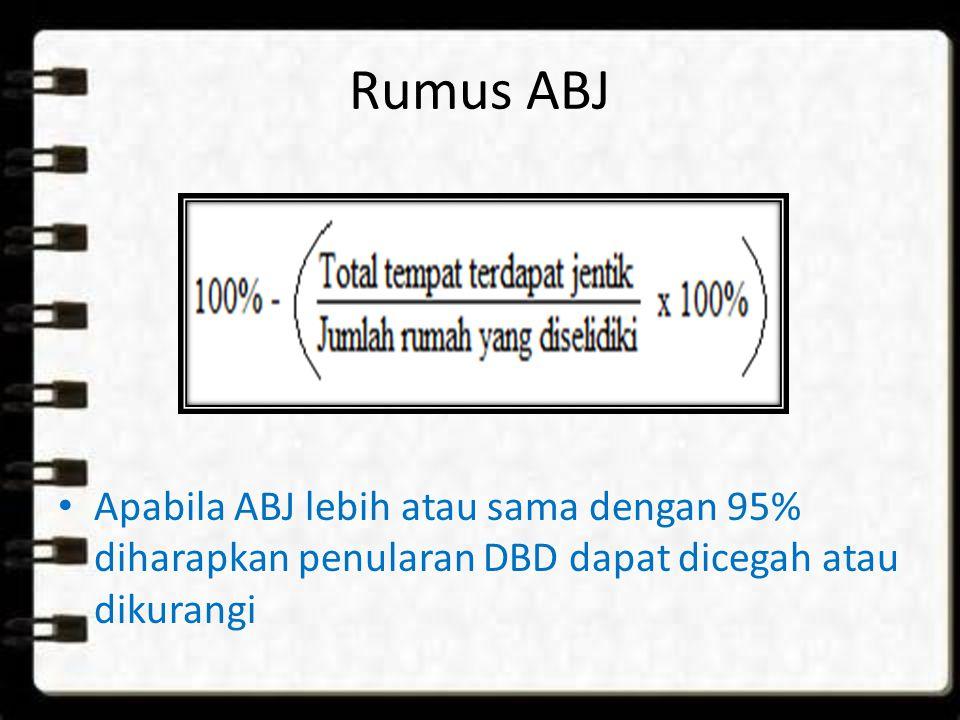 Rumus ABJ Apabila ABJ lebih atau sama dengan 95% diharapkan penularan DBD dapat dicegah atau dikurangi