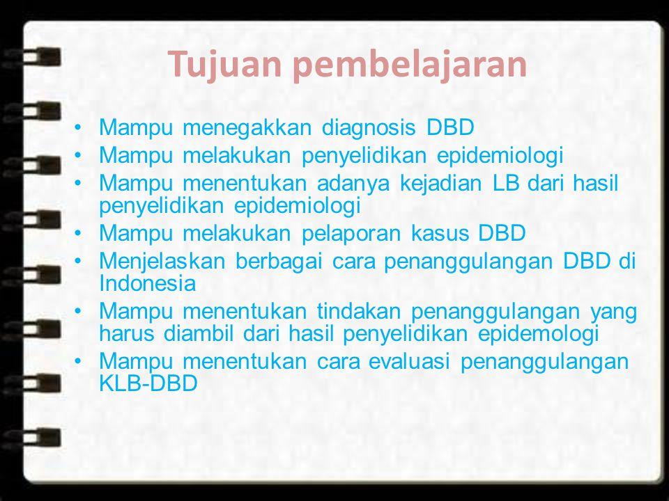 Tujuan pembelajaran Mampu menegakkan diagnosis DBD Mampu melakukan penyelidikan epidemiologi Mampu menentukan adanya kejadian LB dari hasil penyelidik