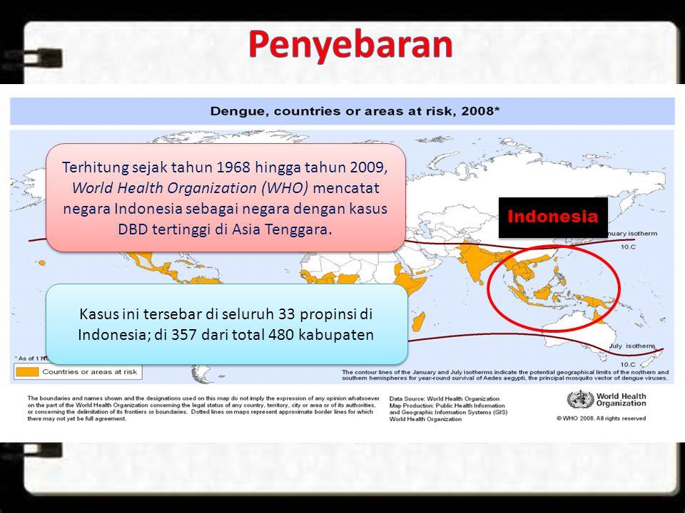 Indonesia Terhitung sejak tahun 1968 hingga tahun 2009, World Health Organization (WHO) mencatat negara Indonesia sebagai negara dengan kasus DBD tert