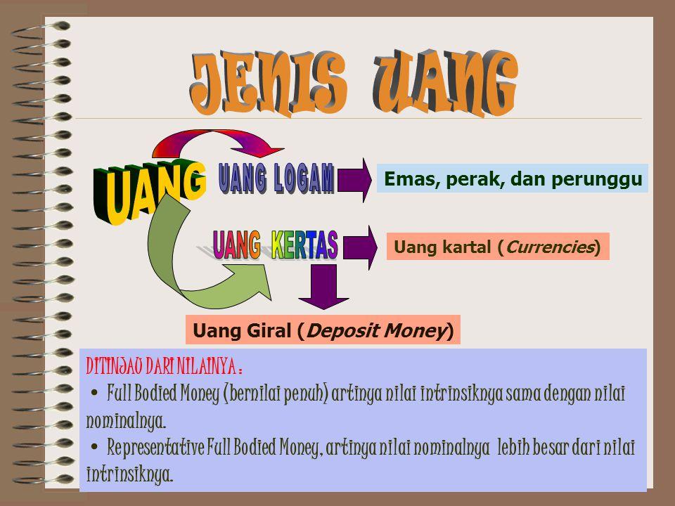 Emas, perak, dan perunggu Uang kartal (Currencies) Uang Giral (Deposit Money) DITINJAU DARI NILAINYA : Full Bodied Money (bernilai penuh) artinya nila