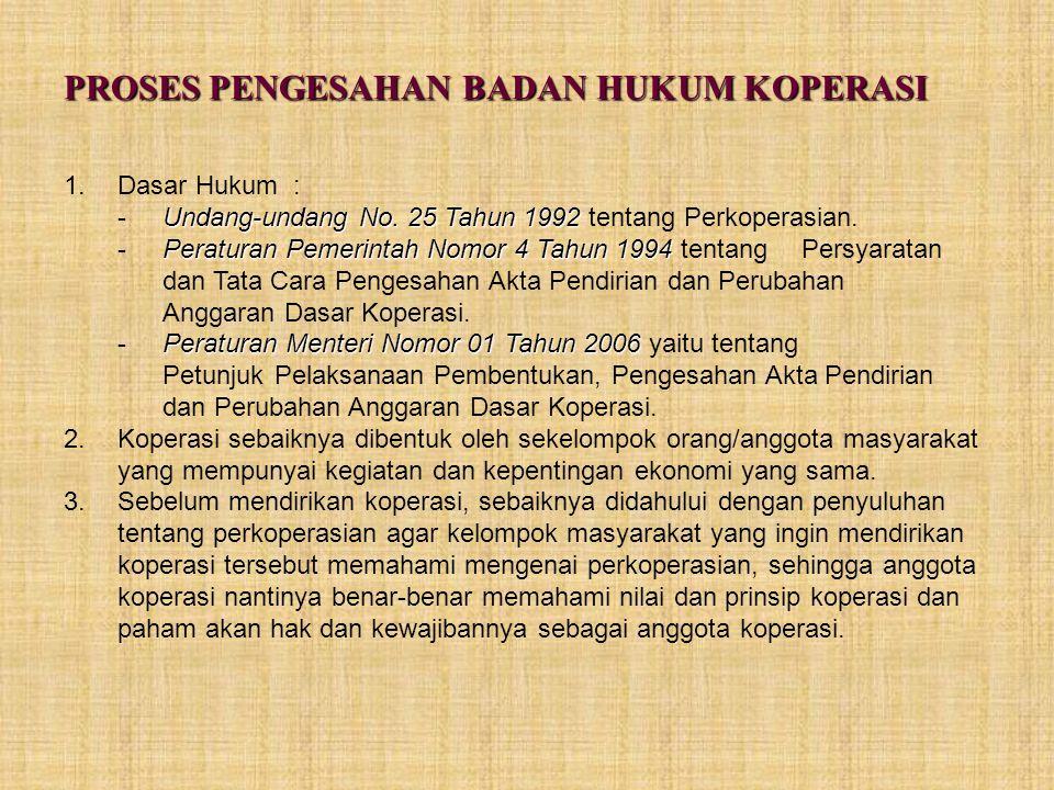 PROSES PENGESAHAN BADAN HUKUM KOPERASI 1.Dasar Hukum : Undang-undang No. 25 Tahun 1992 -Undang-undang No. 25 Tahun 1992 tentang Perkoperasian. Peratur