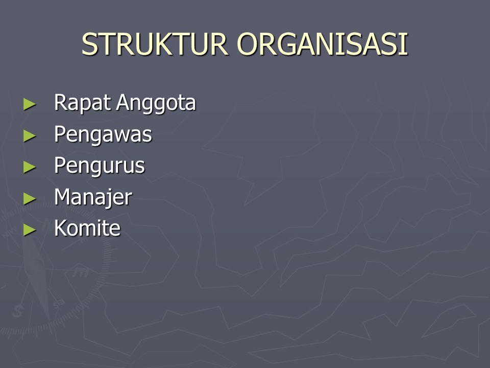 STRUKTUR ORGANISASI ► Rapat Anggota ► Pengawas ► Pengurus ► Manajer ► Komite