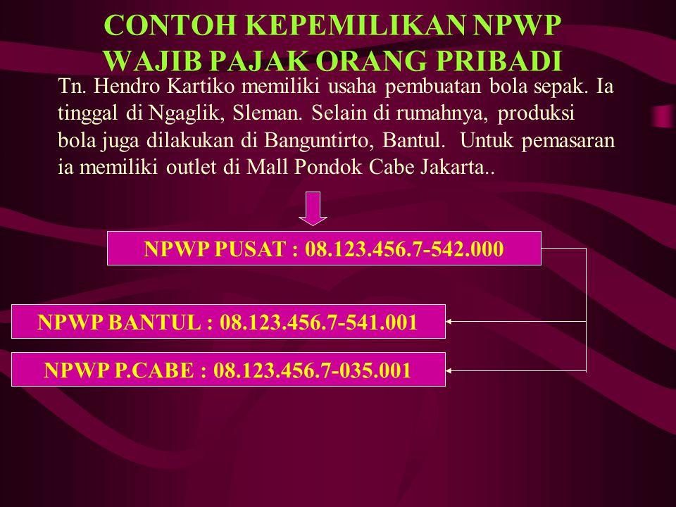 CONTOH KEPEMILIKAN NPWP WAJIB PAJAK BADAN PT Matahari Putra Prima, sebuah usaha retail kebutuhan sehari-hari, didirikan dan berkedudukan di Jln.