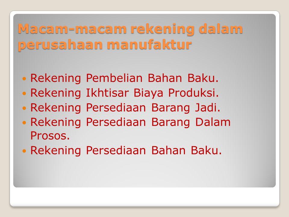 Macam-macam rekening dalam perusahaan manufaktur Rekening Pembelian Bahan Baku.