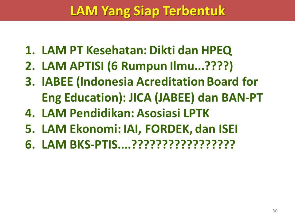 30 LAM Yang Siap Terbentuk 1.LAM PT Kesehatan: Dikti dan HPEQ 2.LAM APTISI (6 Rumpun Ilmu...????) 3.IABEE (Indonesia Acreditation Board for Eng Educat