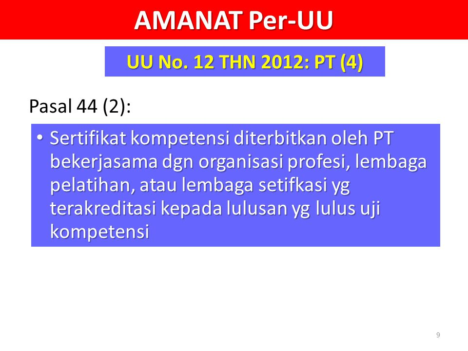 AMANAT Per-UU UU No. 12 THN 2012: PT (4) Pasal 44 (2): Sertifikat kompetensi diterbitkan oleh PT bekerjasama dgn organisasi profesi, lembaga pelatihan