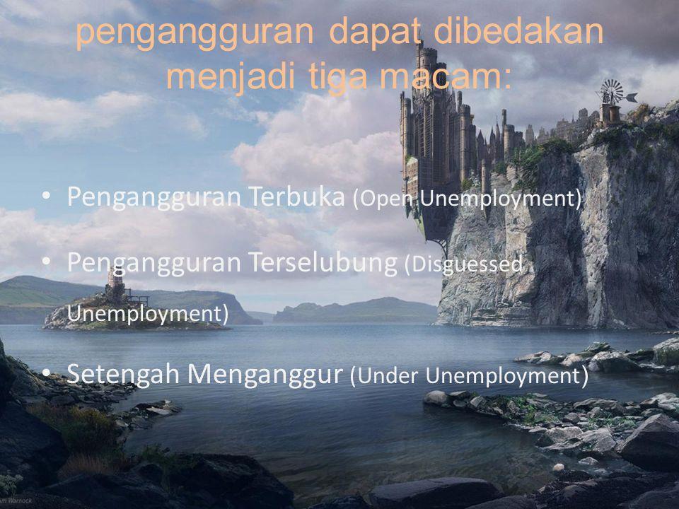 pengangguran dapat dibedakan menjadi tiga macam: Pengangguran Terbuka (Open Unemployment) Pengangguran Terselubung (Disguessed Unemployment) Setengah