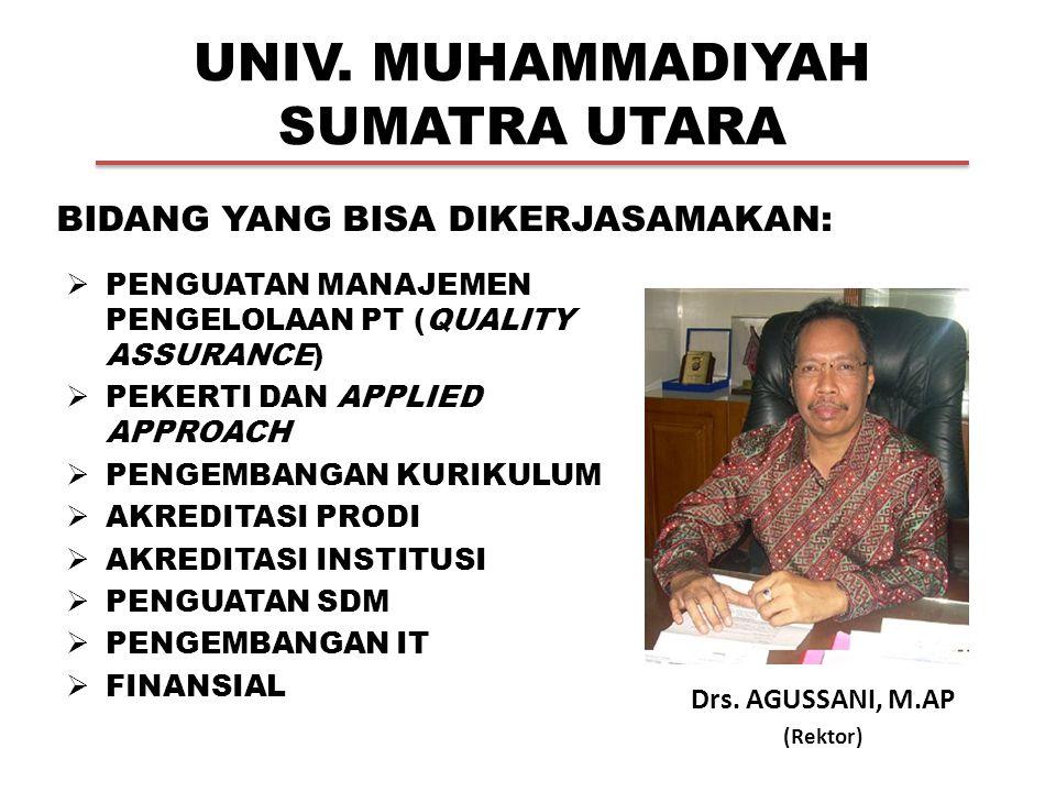 UNIV. MUHAMMADIYAH SUMATRA UTARA Drs. AGUSSANI, M.AP (Rektor) BIDANG YANG BISA DIKERJASAMAKAN:  PENGUATAN MANAJEMEN PENGELOLAAN PT (QUALITY ASSURANCE