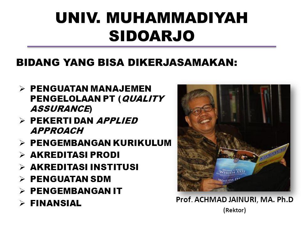 UNIV. MUHAMMADIYAH SIDOARJO Prof. ACHMAD JAINURI, MA. Ph.D (Rektor) BIDANG YANG BISA DIKERJASAMAKAN:  PENGUATAN MANAJEMEN PENGELOLAAN PT (QUALITY ASS