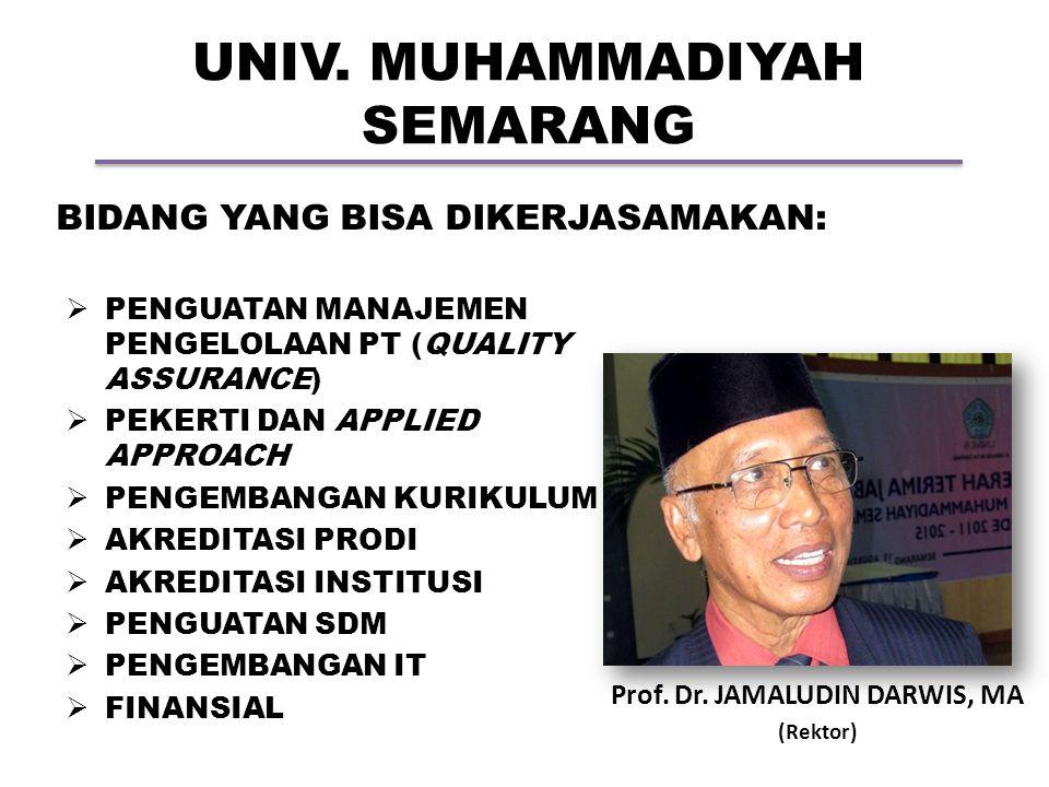 UNIV. MUHAMMADIYAH SEMARANG Prof. Dr. JAMALUDIN DARWIS, MA (Rektor) BIDANG YANG BISA DIKERJASAMAKAN:  PENGUATAN MANAJEMEN PENGELOLAAN PT (QUALITY ASS