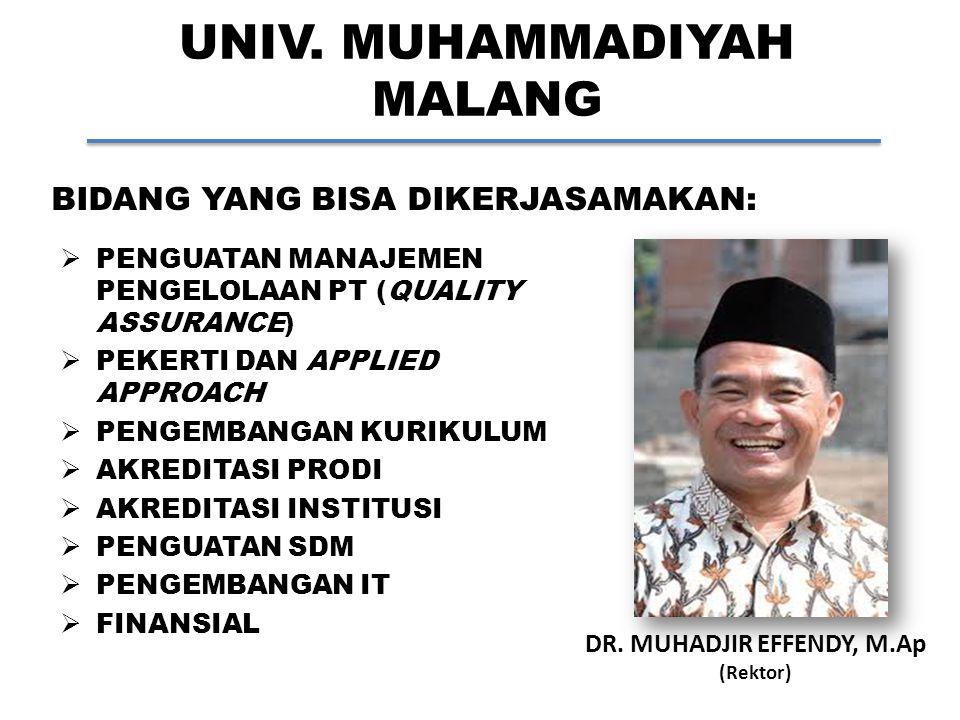 UNIV. MUHAMMADIYAH MALANG DR. MUHADJIR EFFENDY, M.Ap (Rektor) BIDANG YANG BISA DIKERJASAMAKAN:  PENGUATAN MANAJEMEN PENGELOLAAN PT (QUALITY ASSURANCE