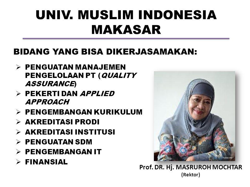 UNIV. MUSLIM INDONESIA MAKASAR Prof. DR. Hj. MASRUROH MOCHTAR (Rektor) BIDANG YANG BISA DIKERJASAMAKAN:  PENGUATAN MANAJEMEN PENGELOLAAN PT (QUALITY