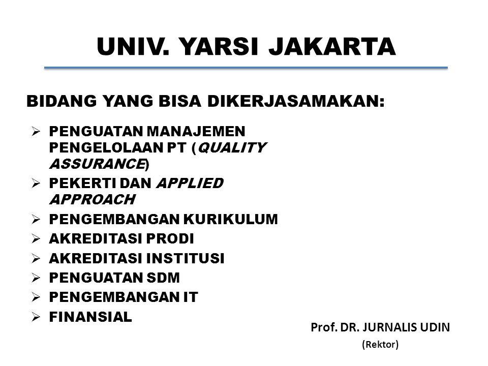 UNIV. YARSI JAKARTA Prof. DR. JURNALIS UDIN (Rektor) BIDANG YANG BISA DIKERJASAMAKAN:  PENGUATAN MANAJEMEN PENGELOLAAN PT (QUALITY ASSURANCE)  PEKER