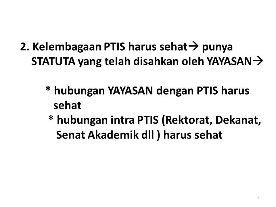2. Kelembagaan PTIS harus sehat  punya STATUTA yang telah disahkan oleh YAYASAN  * hubungan YAYASAN dengan PTIS harus sehat * hubungan intra PTIS (R