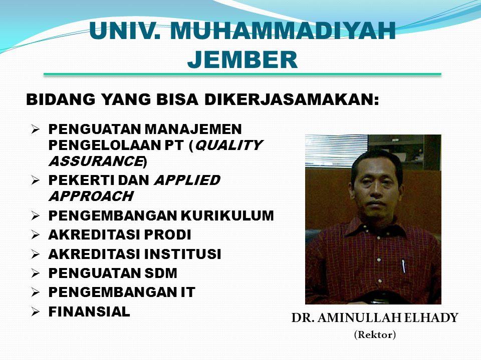 UNIV. MUHAMMADIYAH JEMBER DR. AMINULLAH ELHADY (Rektor) BIDANG YANG BISA DIKERJASAMAKAN:  PENGUATAN MANAJEMEN PENGELOLAAN PT (QUALITY ASSURANCE)  PE