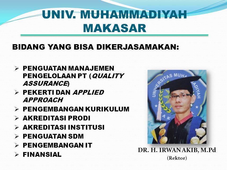 UNIV. MUHAMMADIYAH MAKASAR DR. H. IRWAN AKIB, M.Pd (Rektor) BIDANG YANG BISA DIKERJASAMAKAN:  PENGUATAN MANAJEMEN PENGELOLAAN PT (QUALITY ASSURANCE)