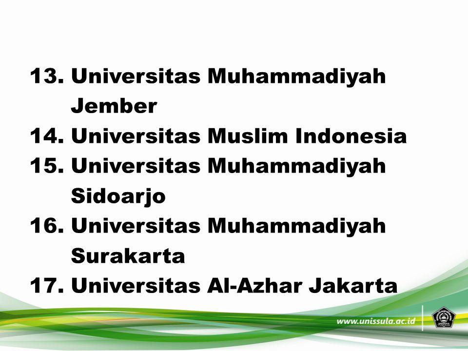 13. Universitas Muhammadiyah Jember 14. Universitas Muslim Indonesia 15. Universitas Muhammadiyah Sidoarjo 16. Universitas Muhammadiyah Surakarta 17.