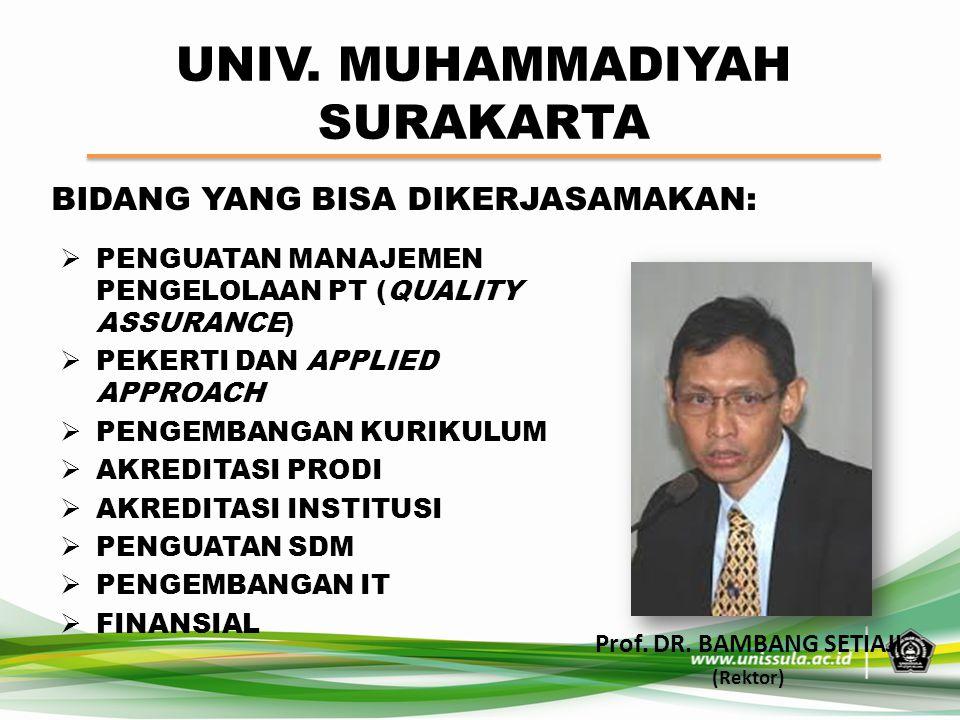 UNIV. MUHAMMADIYAH SURAKARTA Prof. DR. BAMBANG SETIAJI (Rektor) BIDANG YANG BISA DIKERJASAMAKAN:  PENGUATAN MANAJEMEN PENGELOLAAN PT (QUALITY ASSURAN