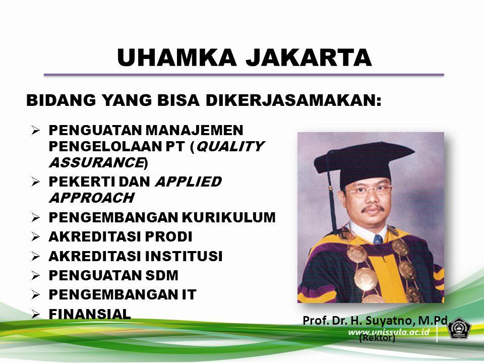 UHAMKA JAKARTA Prof. Dr. H. Suyatno, M.Pd. (Rektor) BIDANG YANG BISA DIKERJASAMAKAN:  PENGUATAN MANAJEMEN PENGELOLAAN PT (QUALITY ASSURANCE)  PEKERT