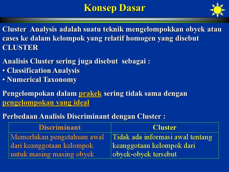 ClusterV1V2V3V4V5V6 14.00006.00003.00007.00002.00007.0000 22.00003.00002.00004.00007.00002.0000 37.00002.00006.00004.00001.00003.0000 Initial Cluster Centers Results of Nonhierarchical Clustering Classification Cluster Centers ClusterV1V2V3V4V5V6 13.81355.89923.25226.48912.51496.6957 21.85073.02341.83273.78646.44362.5056 36.35582.83566.15763.67361.30473.2010 Case Listing of Cluster Membership Case IDClusterDistanceCase IDClusterDistance 131.780222.254 331.174411.882 522.525632.340 731.862831.410 921.8431012.112 1121.9231232.400 1323.3821411.772 1533.6051612.137 1733.7601814.421 1910.8532020.813