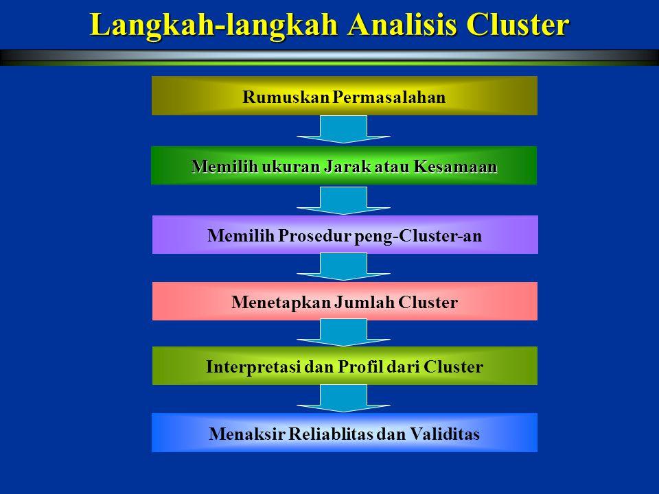 Menetapkan Jumlah Cluster Pedoman dalam menetapkan jumlah cluster :  Theoretical, conceptual, or practical consideration may suggest a certain number of cluster.