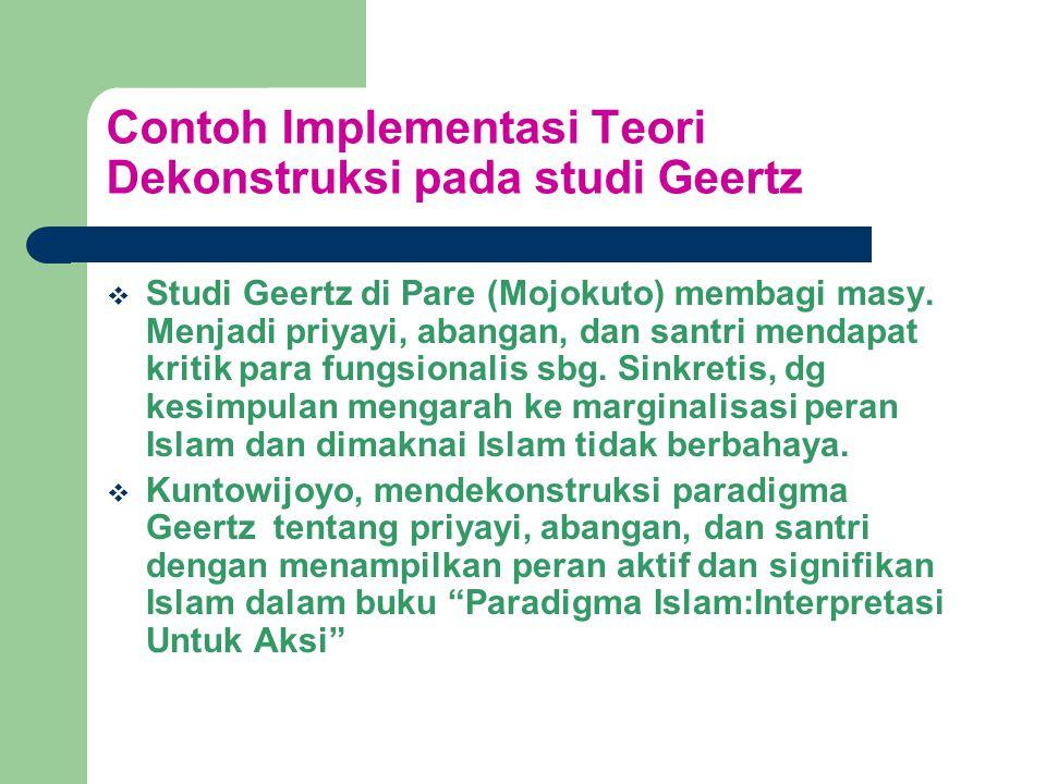 Contoh Implementasi Teori Dekonstruksi pada studi Geertz  Studi Geertz di Pare (Mojokuto) membagi masy.