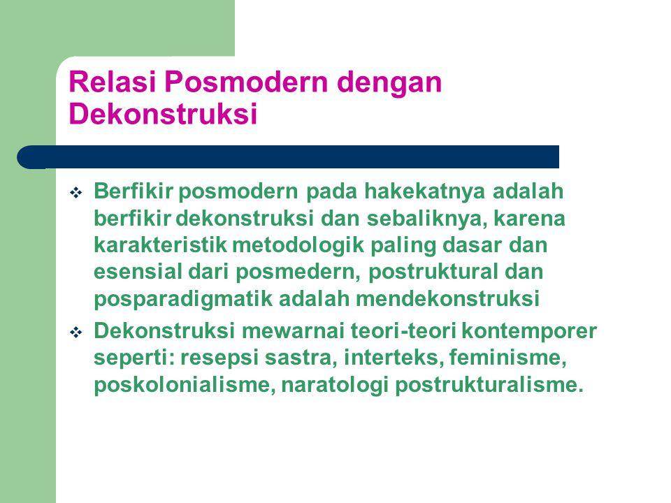 Relasi Posmodern dengan Dekonstruksi  Berfikir posmodern pada hakekatnya adalah berfikir dekonstruksi dan sebaliknya, karena karakteristik metodologik paling dasar dan esensial dari posmedern, postruktural dan posparadigmatik adalah mendekonstruksi  Dekonstruksi mewarnai teori-teori kontemporer seperti: resepsi sastra, interteks, feminisme, poskolonialisme, naratologi postrukturalisme.