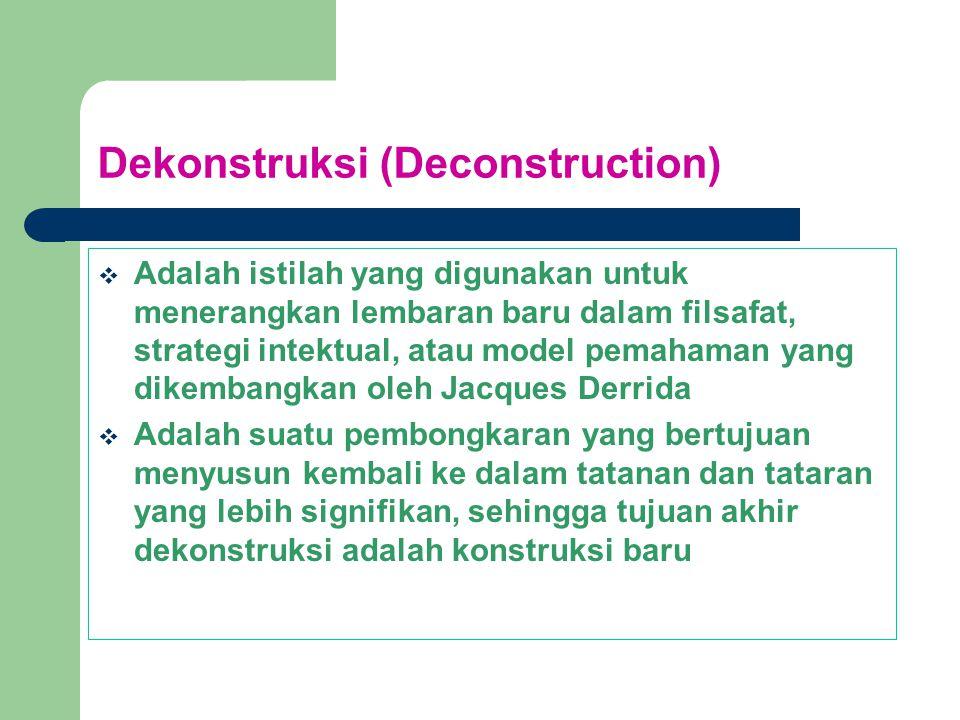 Dekonstruksi (Deconstruction)  Adalah istilah yang digunakan untuk menerangkan lembaran baru dalam filsafat, strategi intektual, atau model pemahaman yang dikembangkan oleh Jacques Derrida  Adalah suatu pembongkaran yang bertujuan menyusun kembali ke dalam tatanan dan tataran yang lebih signifikan, sehingga tujuan akhir dekonstruksi adalah konstruksi baru