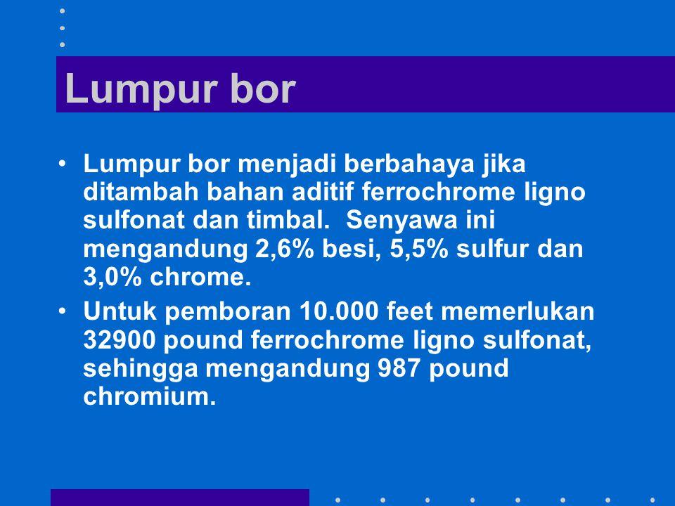 Lumpur bor Lumpur bor menjadi berbahaya jika ditambah bahan aditif ferrochrome ligno sulfonat dan timbal. Senyawa ini mengandung 2,6% besi, 5,5% sulfu