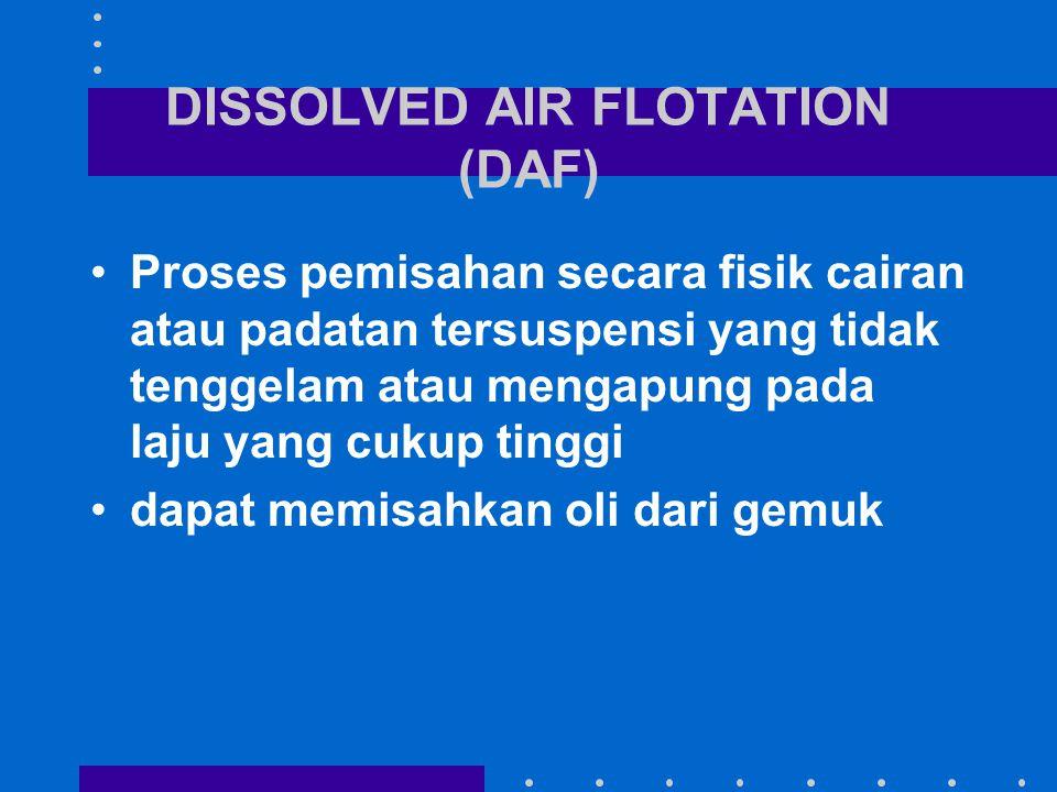 DISSOLVED AIR FLOTATION (DAF) Proses pemisahan secara fisik cairan atau padatan tersuspensi yang tidak tenggelam atau mengapung pada laju yang cukup t