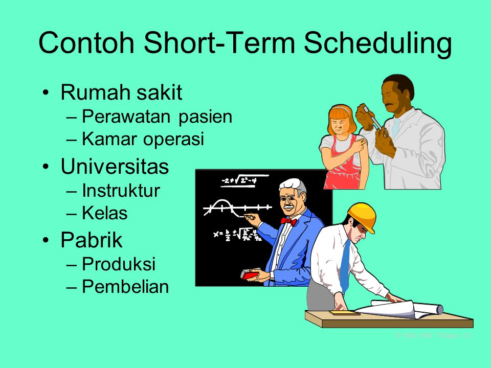 Berhubungan dengan waktu operasi Fokus jangka pendek: jam, hari, minggu, dsb. Type Sekarang Janji selesai BE Forward Scheduling Sekarang Janji selesai