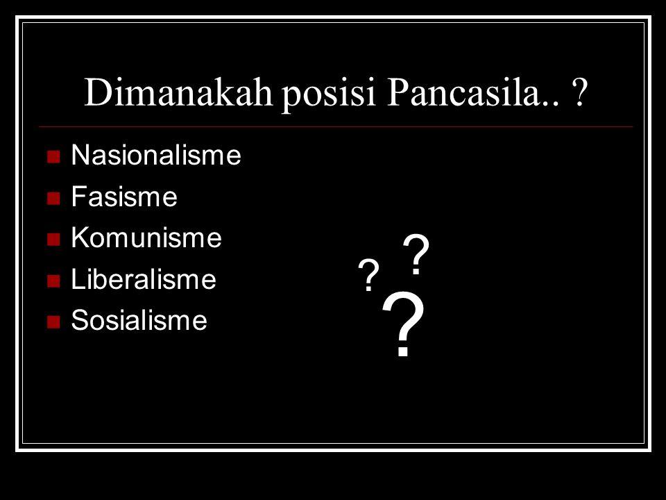 Dimanakah posisi Pancasila.. ? Nasionalisme Fasisme Komunisme Liberalisme Sosialisme ? ? ?