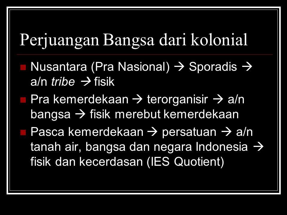 Perjuangan Bangsa dari kolonial Nusantara (Pra Nasional)  Sporadis  a/n tribe  fisik Pra kemerdekaan  terorganisir  a/n bangsa  fisik merebut ke