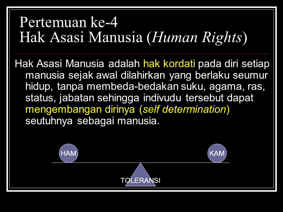 Pertemuan ke-4 Hak Asasi Manusia (Human Rights) Hak Asasi Manusia adalah hak kordati pada diri setiap manusia sejak awal dilahirkan yang berlaku seumu