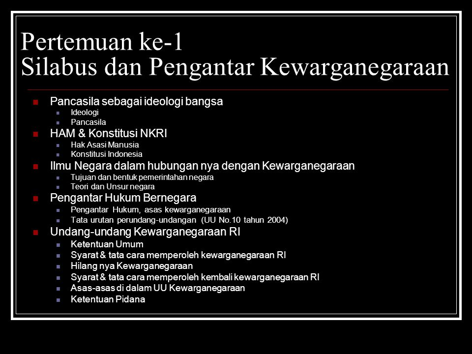 Nilai Asas Norma Perilaku Ideologi (Pancasila) Konstitusi (UUD 1945) UU Kewarganegaraan Sikap & mental warga negara Hans Kelsen - Stufenbau Theory, Hierarki per-UU-an