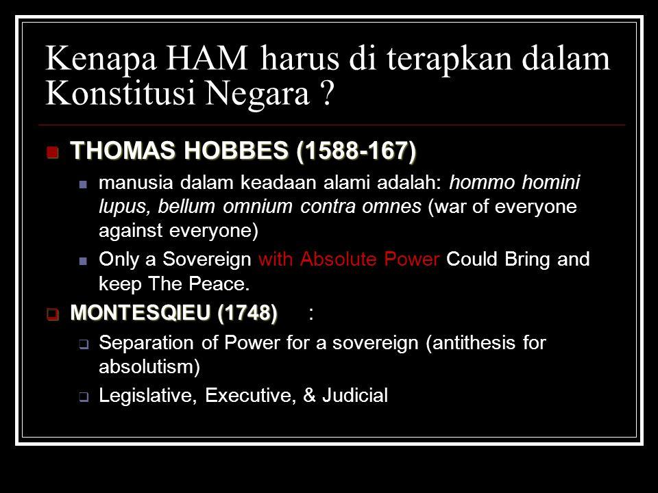 Kenapa HAM harus di terapkan dalam Konstitusi Negara ? THOMAS HOBBES (1588-167) THOMAS HOBBES (1588-167) manusia dalam keadaan alami adalah: hommo hom