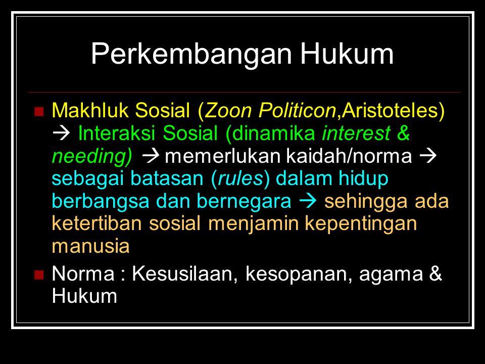 Makhluk Sosial (Zoon Politicon,Aristoteles)  Interaksi Sosial (dinamika interest & needing)  memerlukan kaidah/norma  sebagai batasan (rules) dalam