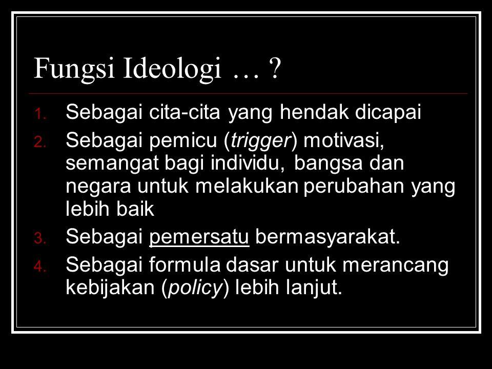 Fungsi Ideologi … ? 1. Sebagai cita-cita yang hendak dicapai 2. Sebagai pemicu (trigger) motivasi, semangat bagi individu, bangsa dan negara untuk mel