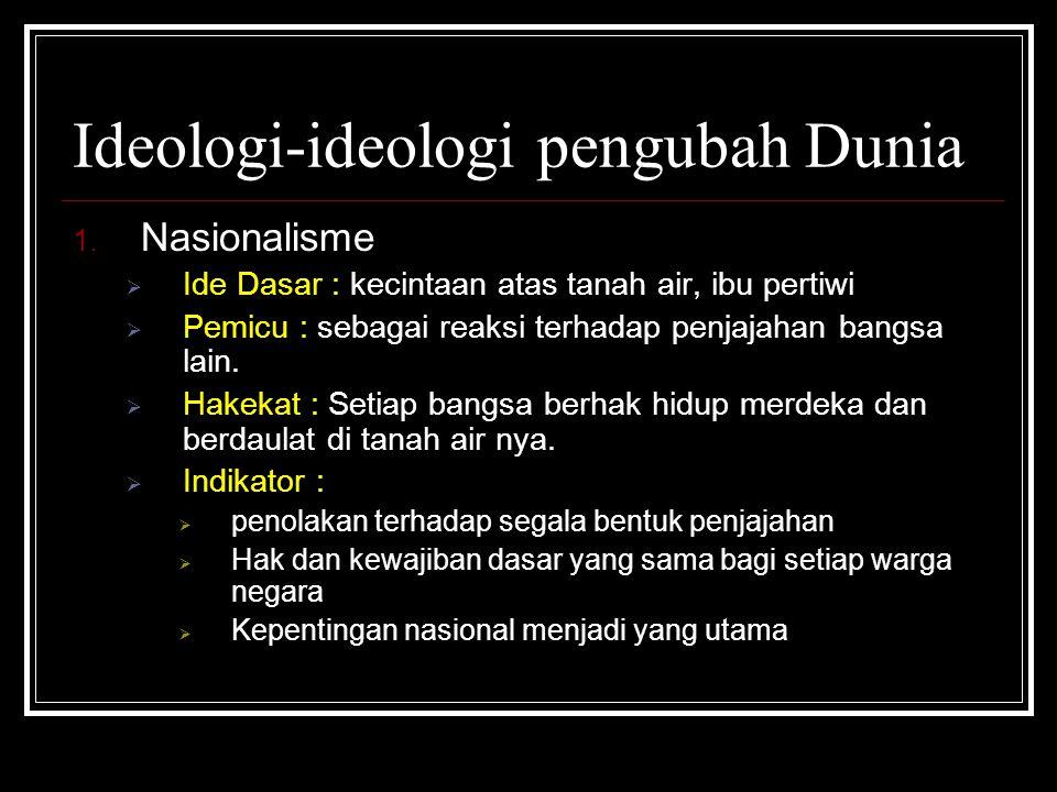Ideologi-ideologi pengubah Dunia 1. Nasionalisme  Ide Dasar : kecintaan atas tanah air, ibu pertiwi  Pemicu : sebagai reaksi terhadap penjajahan ban