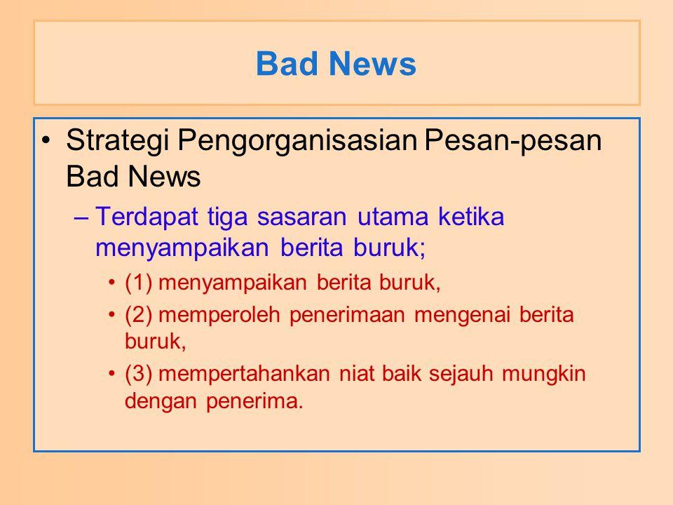 Bad News Strategi Pengorganisasian Pesan-pesan Bad News –Terdapat tiga sasaran utama ketika menyampaikan berita buruk; (1) menyampaikan berita buruk,