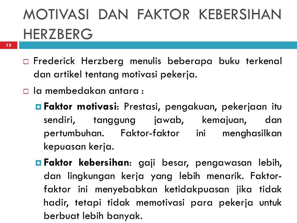 MOTIVASI DAN FAKTOR KEBERSIHAN HERZBERG 13  Frederick Herzberg menulis beberapa buku terkenal dan artikel tentang motivasi pekerja.