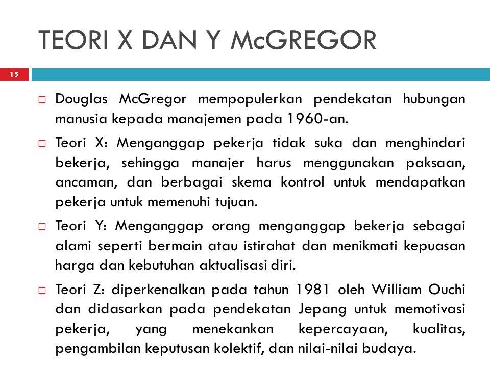 TEORI X DAN Y McGREGOR 15  Douglas McGregor mempopulerkan pendekatan hubungan manusia kepada manajemen pada 1960-an.