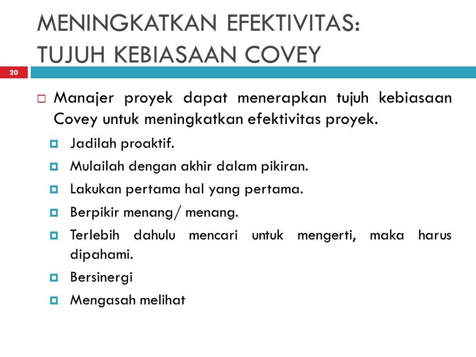 MENINGKATKAN EFEKTIVITAS: TUJUH KEBIASAAN COVEY 20  Manajer proyek dapat menerapkan tujuh kebiasaan Covey untuk meningkatkan efektivitas proyek.