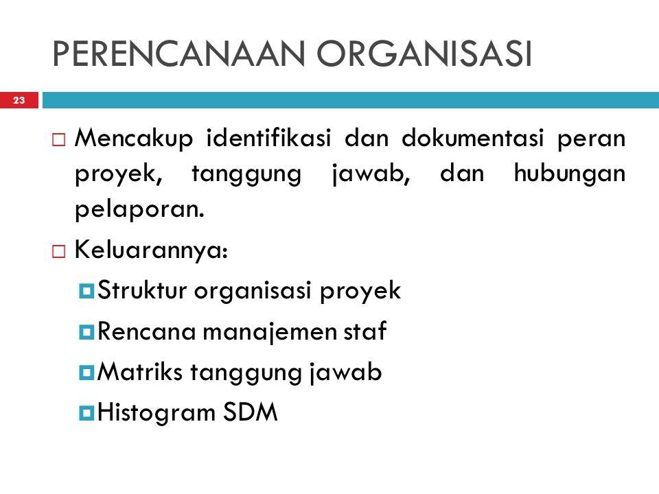 PERENCANAAN ORGANISASI 23  Mencakup identifikasi dan dokumentasi peran proyek, tanggung jawab, dan hubungan pelaporan.