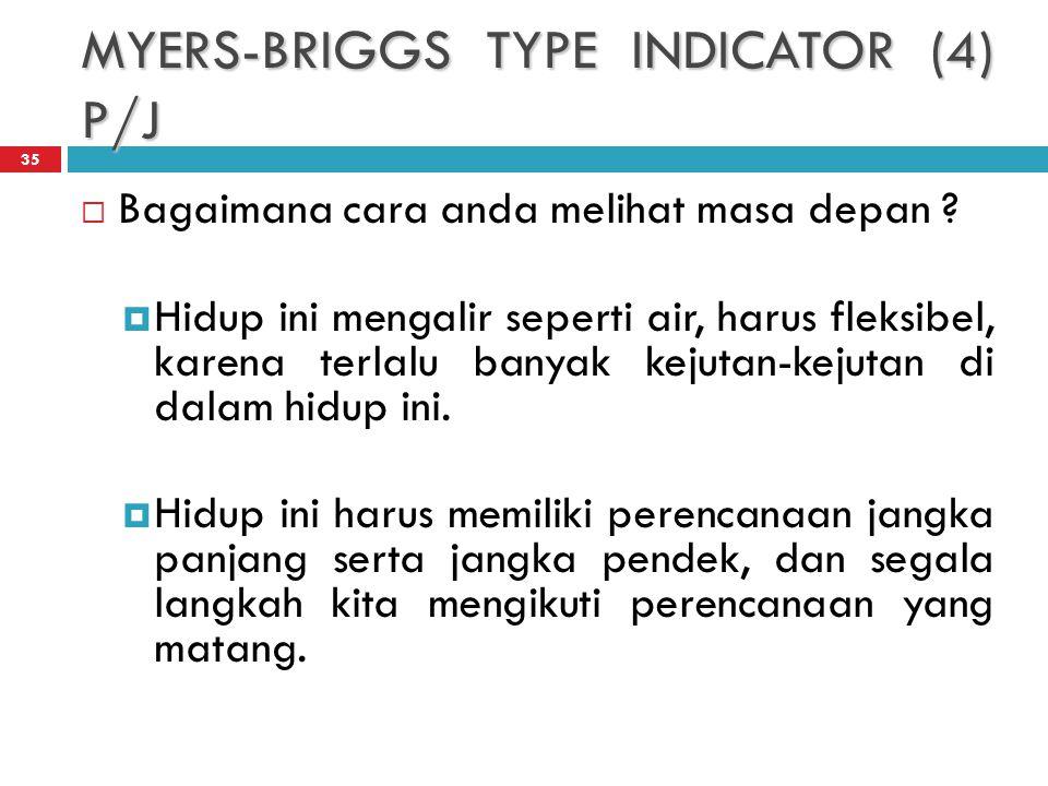 MYERS-BRIGGS TYPE INDICATOR (4) P/J 35  Bagaimana cara anda melihat masa depan .
