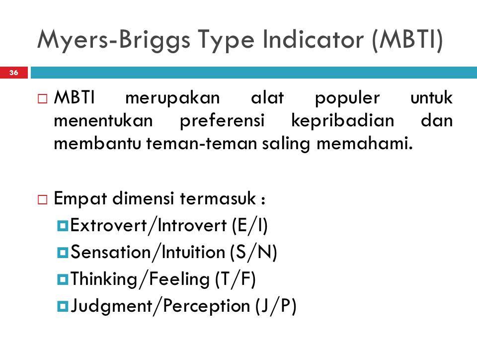 Myers-Briggs Type Indicator (MBTI) 36  MBTI merupakan alat populer untuk menentukan preferensi kepribadian dan membantu teman-teman saling memahami.