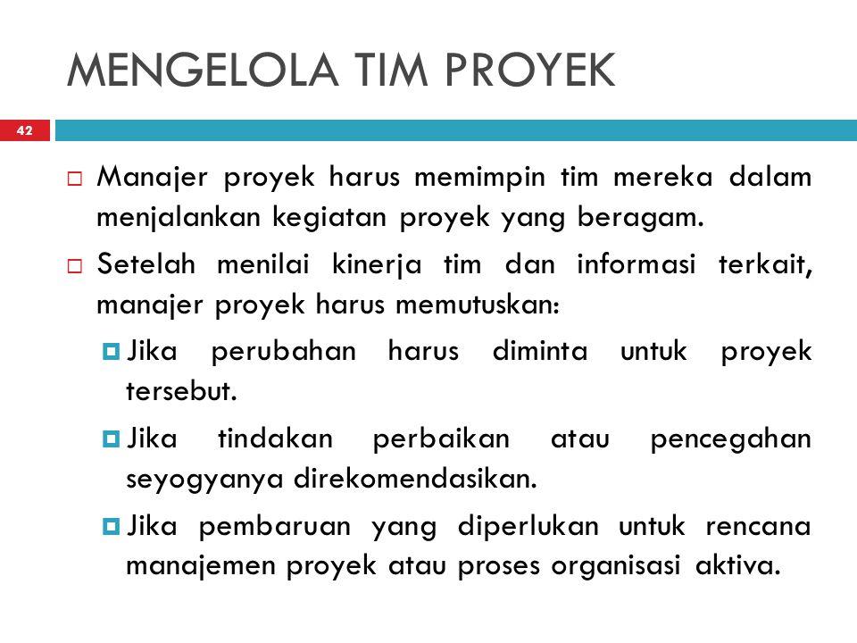 MENGELOLA TIM PROYEK 42  Manajer proyek harus memimpin tim mereka dalam menjalankan kegiatan proyek yang beragam.