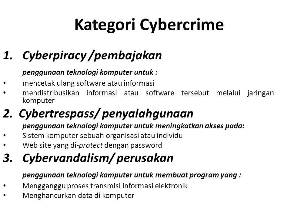 Kategori Cybercrime 1.Cyberpiracy /pembajakan penggunaan teknologi komputer untuk : mencetak ulang software atau informasi mendistribusikan informasi