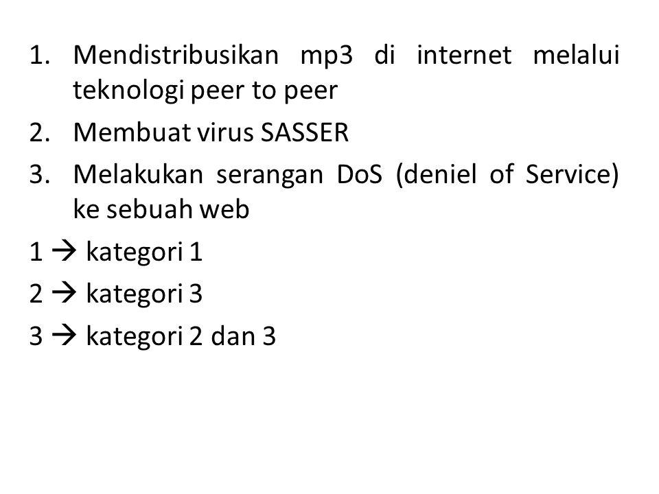 1.Mendistribusikan mp3 di internet melalui teknologi peer to peer 2.Membuat virus SASSER 3.Melakukan serangan DoS (deniel of Service) ke sebuah web 1